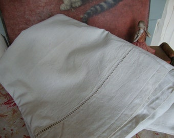 Antique Vintage French Textured Linen Sheet / Ladder Stitch Decoration / Handmade Sewing Project / Curtains Cushions / Paris Apartment Chic