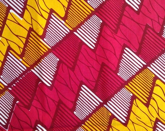 Zig Zag Fat Quarter or BY-THE-YARD  100% cotton Pink and Golden Yellow African Wax Print