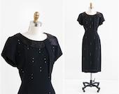 vintage 1940s dress / 40s dress / Little Black Dress with Rhinestones and Satin Trim