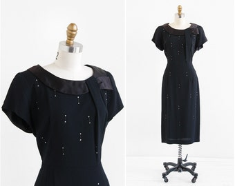 vintage 1940s dress / 40s dress / Little Black Dress with Rhinestones and Satin Trim