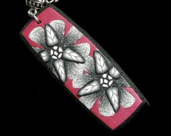 Red Flower Pendant Necklace, Floral Clay Art Jewelry Gift for Girlfriend, Unique Jewelry Womens Gift, Handmade Gift for Women, Gift for Mom