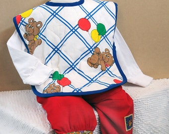 Best Design Bib Full-Coverage X-Large Quilted Cotton Toddler Bib Arm Holes Teddy Bear Balloons Retro 1980's Vintage Fabric  Unisex Baby Gift