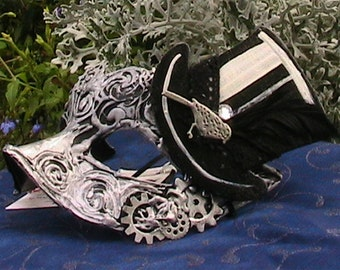 Silver Steam punk Inspired Mask with Hand Painted Black Top Hat