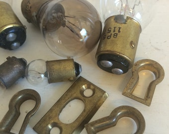Vintage Brass Skeleton Key Holes and Mini Light Bulbs