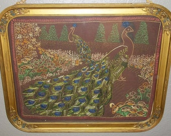 Antique Victorian Embroidery Peacock Gilt Wood Floral Frame Picture 22.5 x 18.5 Flowers