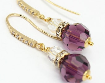 Amethyst Earrings Eggplant Purple Gold Filled Bridal Wedding Jewelry Clear Cubic Zirconia Swarovski Crystal