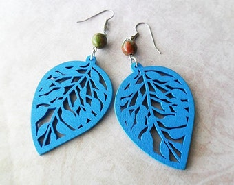 Blue Leaf and Unakite Stone Wooden Earrings