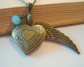 Heart Locket with Angel Wing Brass Locket Brass Heart Locket Necklace Locket Jewerly