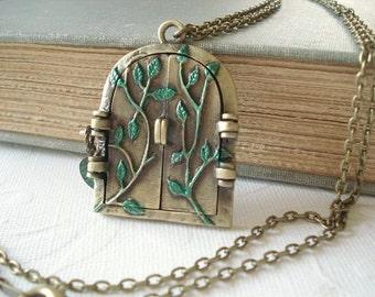 Fairy Door Locket Hand Painted Locket Leaf Locket Hobbit Door Necklace Whimsical Jewelry Woodland Locket Summer Jewelry
