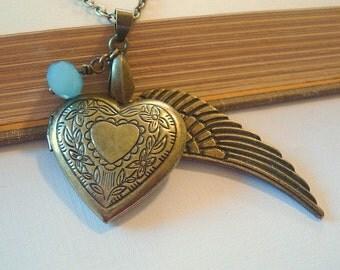 Heart Locket with Angel Wing Brass Locket Brass Heart Locket Necklace Locket Jewerly
