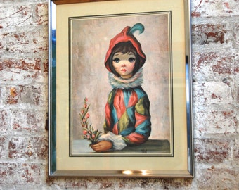 Vintage Maio Big Eye Girl Print, Wall Art, Home Decor