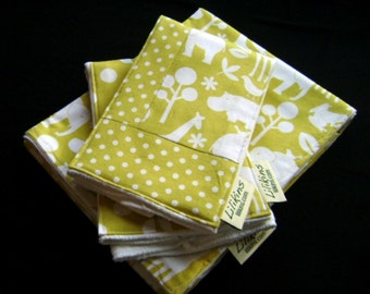 Citron Animals - Receiving Blanket and Burp Cloths
