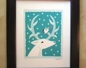 White Deer with Chickadee Art Print
