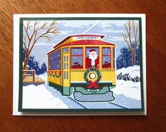 Holly Trolley Christmas Card