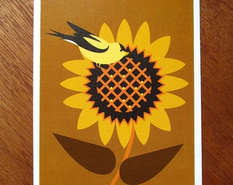 Goldfinch on Sunflower Note card