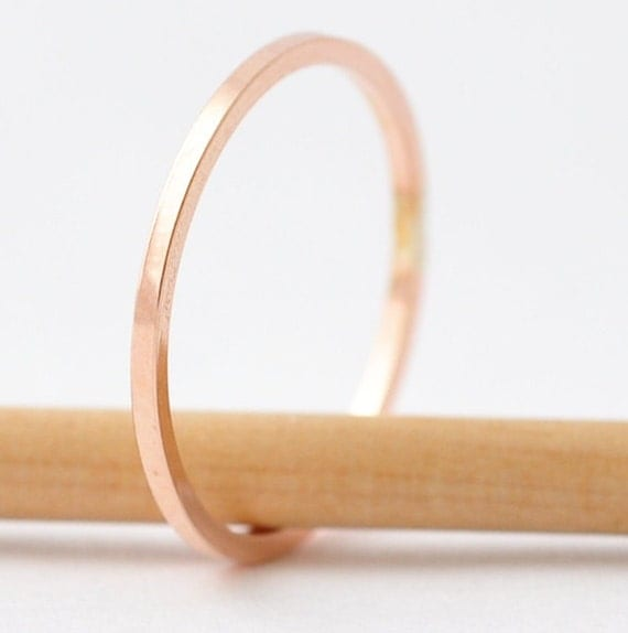 Rose Gold Bands: Square Edged Simple Ring, Gifts under 20