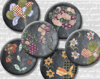 Fabric Flowers Digital Collage Sheet 18mm 16mm 14mm 12mm Circle Round on 4x6 and 8.5x11 Sheets for Earrings Pendants Cuff Links Image