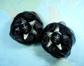 Starfish Shoe Clips - Black Tie Starfish -  Shoe Clips or Dress Clips