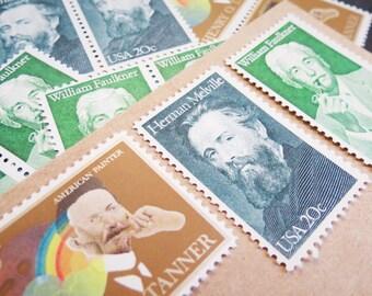 Literary .. Arts ..  UNused Vintage Postage Stamps  .. post 5 letters