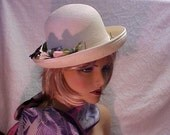 "Reserved -Linda  Pretty white derby hat with pansy flowers at the side- designer ""Kathy Jeanne""- fits 22 inches"