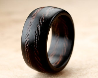 Ebony Wenge Wood Ring - 10mm
