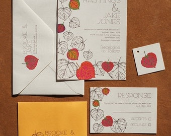 Aspen Leaves Wedding Invitation Suite