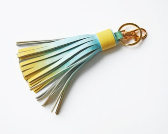 Leather Tassel Key Chain Tassel Bag Charm Ombre Accessories For Bag Tassel Charm Ombre