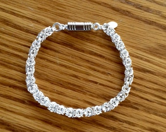 Byzantine Chainmaille Sterling Silver Bracelet 8 Inches