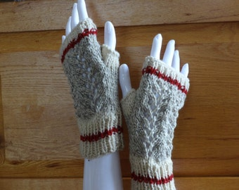 Medium Lace Gray Ragg Worksock Texting Mitts, Fingerless Gloves, Miller's Mitts