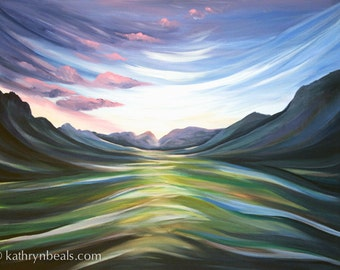 Surreal Mountain Landscape Gallery Wrap Stretched Canvas Print Giclee