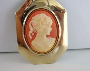 Vintage gold, pink and cream cameo brooch/ dress clip/ sweater clip/ shoe clip (G7)