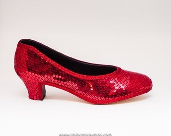 Red Sequin French Scoop High Heels Formal Dress Shoes