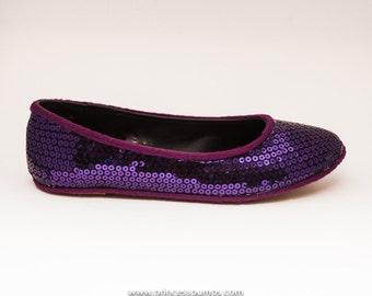 Plum Purple Sequin Slipper Ballet Flats Shoes