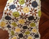 Crochet circles throw/ Crochet polka dots/ Crochet multicolor circles
