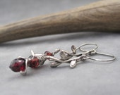 Garnet Earrings - Flower Earrings - January Birthstone - Birthstone Jewelry - Silver Flower Bud Earrings - Garnet Jewelry - Leaf and Vine