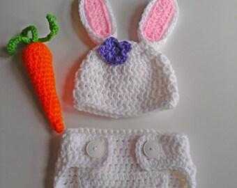 Newborn Bunny Hat Set, Easter, Crochet Baby Hat, Photo Prop
