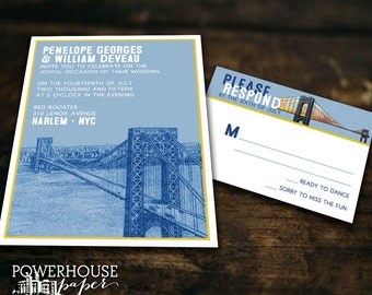 New York City George Washington Bridge Wedding Invitation