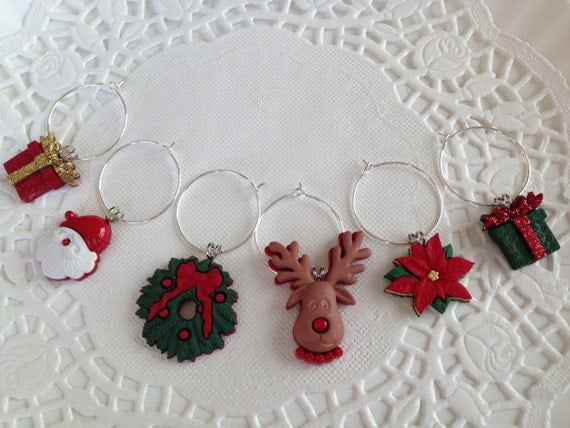 Wine Charms Christmas Motif Christmas Party Gift Hostess Gift