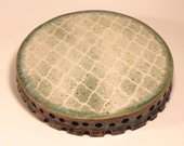 Low Cake PLate Pedestal Plate Stenciled pattern on Green  Ready to Ship