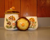 Vintage Mushroom Canisters   Sears  1976     Cute for Potting Shed Storage   twine and seeds