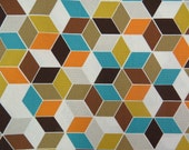 2514A - Colored Geometric Fabric in Brown Combo, Geometric Pattern Fabric, Colored Cube