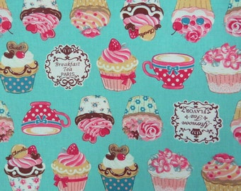 2527D - Sweet Cup Cake Fabric in Turquoise Blue, Afternoon Tea Flavor, Breakfast Tea Paris, Japanese Cotton, Cosmo Textile