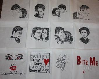 Twilight Saga Machine Embroidered Quilt Blocks Set