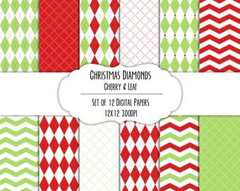 Christmas Diamonds Cherry & Leaf Digital Scrapbook Paper 12x12 Pack - Set of 12 - Argyle, Diamonds - Instant Download - #8197