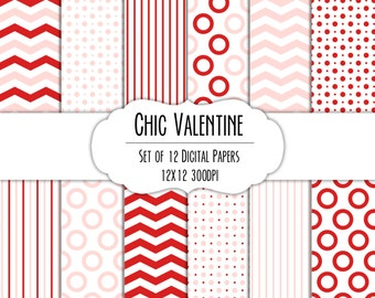 Chic Valentine Digital Scrapbook Paper 12x12 Pack - Set of 12 - Polka Dots, Chevron, Stripes - #8200