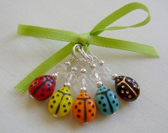 Cute Ladybird Stitch Markers for Knitting or Crochet