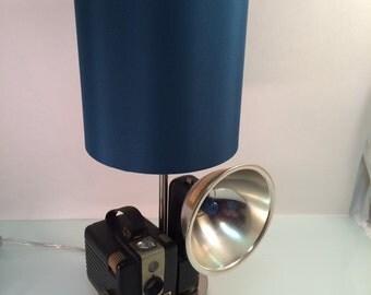 Vintage Brownie Halkeye Camera Lamp for Table, desk Steampunk  Industrial