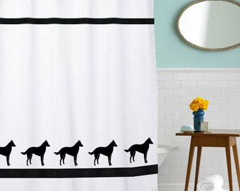 Belgian Malinois Dog Shower Curtain in Your Choice of Colors- Bath Decor