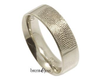 Platinum Fingerprint Wedding Ring with Fingertip Print on the Outside - 6mm - Custom Wedding Band