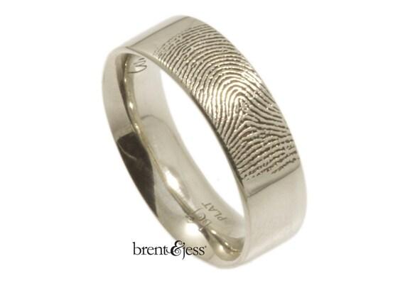 fingerprint customizable platinum wedding band
